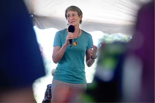 Scott Sommerdorf      The Salt Lake Tribune   U.S. Interior Secretary Sally Jewell speaks during a meeting with Bears Ears National Monument supporters and native leaders in a meadow atop the Bears Ears, Friday, July 15, 2016.