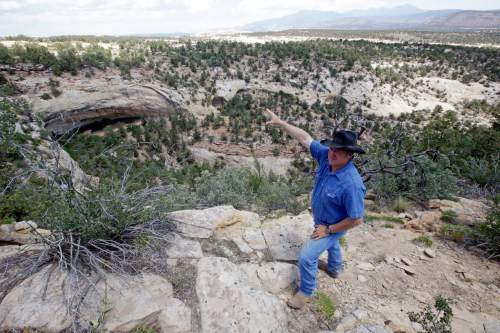 """In this June 23, 2016, photo, rancher Kenny Black points to a rock overhang housing an ancient cliff dwelling, near Blanding, Utah. """"These areas are sacred to me because I've grown up here,"""" said Black, who comes from Mormon pioneers who came to the area in the late 19th Century. """"They're part of my history and my culture as well."""" (AP Photo/Rick Bowmer)"""