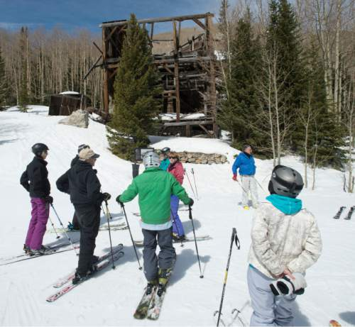 Steve Griffin  |  The Salt Lake Tribune   The California-Comstock at the Park City Mountain Resort borders a ski run in Park City, Friday, April 8, 2016. Park City Mountain Resort, Park City Historical Society and Park City Municipal have announce the formation of a new group dedicated to preserving historical mining sites located at various locations at Park City Mountain Resort