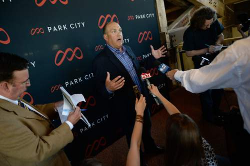 Francisco Kjolseth | The Salt Lake Tribune Bill Rock, Chief Operating Officer of Vail Resorts speaks with the media in Park City following the unveiling of the Resort's new logo, brand, digital presence, signage, uniforms and new trail map. Last season, Vail Resorts announced a $50 million capital improvement project to connect Park City Mountain Resort and Canyons Resort, creating the largest single ski area in the country with more than 7,300 acres of skiable terrain.