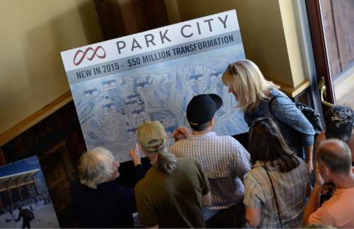 Francisco Kjolseth | Tribune file photo People gather for the unveiling last year of Park City's new logo, brand, digital presence, signage, uniforms and new trail map that combines Park City Mountain Resort with the Canyons. Owner Vail Resorts has filed to trademark the Park City name, upsetting some residents and businesses.