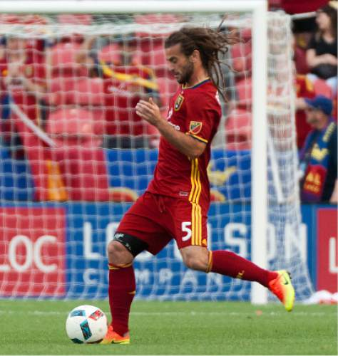 Michael Mangum  |  Special to the Tribune  Real Salt Lake captain Kyle Beckerman (5) makes his first appearance for the team following a stint with the Unite States Mens National Team during their U.S. Open Cup match against the Seattle Sounders at Rio Tinto Stadium in Sandy, UT on Tuesday, June 28th, 2016.