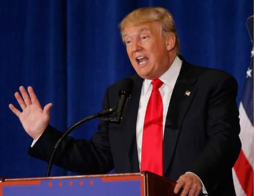 FILE - In thus July 11, 2016 file photo, Republican Presidential candidate Donald Trump speaks in Virginia Beach, Va. (AP Photo/Steve Helber, File)