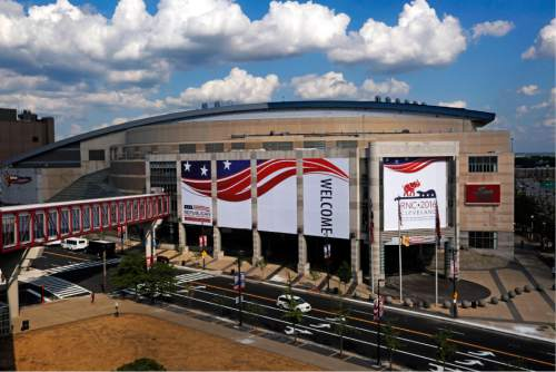 The Quicken Loans Arena is covered in signage in preparation for the upcoming Republican National Convention Wednesday, July 13, 2016, in Cleveland. (AP Photo/Gene J. Puskar)