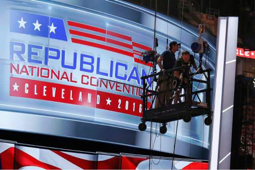 The main stage on the convention floor at the Quicken Loans Arena in downtown Cleveland, Ohio, is prepared for the upcoming Republican National Convention Wednesday, July 13, 2016. (AP Photo/Gene J. Puskar)