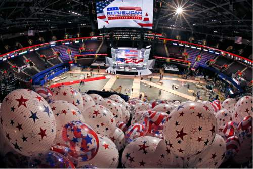 Balloons wait to be hoisted into the rafters of the Quicken Loans Arena in Cleveland, Thursday, July 14, 2016, as work continues in preparation for the upcoming Republican National Convention in downtown Cleveland, Ohio. (AP Photo/Gene J. Puskar)