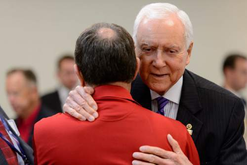 Trent Nelson  |  The Salt Lake Tribune Governor Gary Herbert is embraced by Senator Orrin Hatch as the Utah Republican delegation meets over breakfast in Akron, Ohio, Monday July 18, 2016.