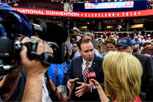 Trent Nelson  |  Tribune file photo Sen. Mike Lee is interviewed at the 2016 Republican National Convention in Cleveland..