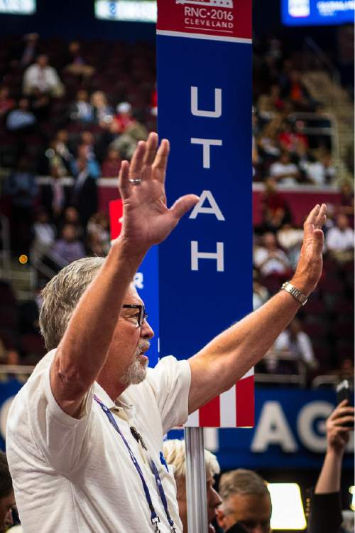 Trent Nelson  |  The Salt Lake Tribune Utah delegate Scott Hawkins boos during a dispute over the adoption of rules at the 2016 Republican National Convention in Cleveland, OH, Monday July 18, 2016.