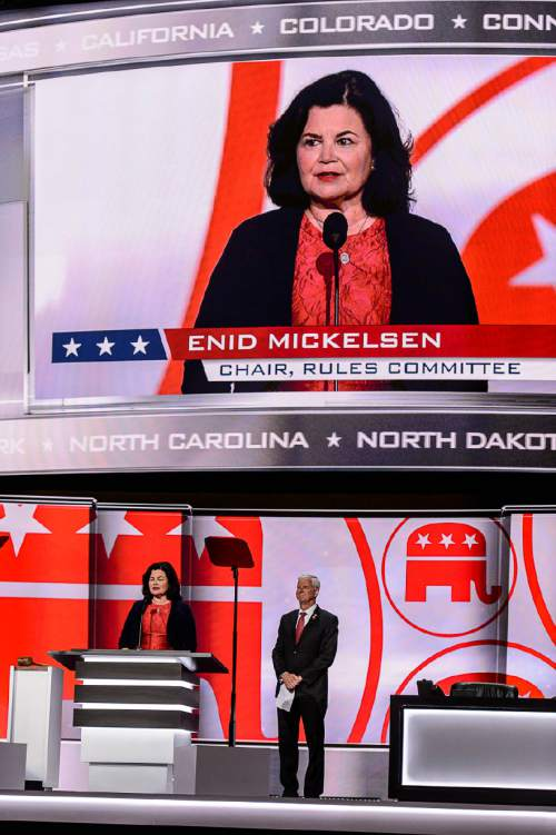 Trent Nelson  |  The Salt Lake Tribune Enid Mickelsen, chair of the Committee on Rules, gives a report at the 2016 Republican National Convention in Cleveland, OH, Monday July 18, 2016.