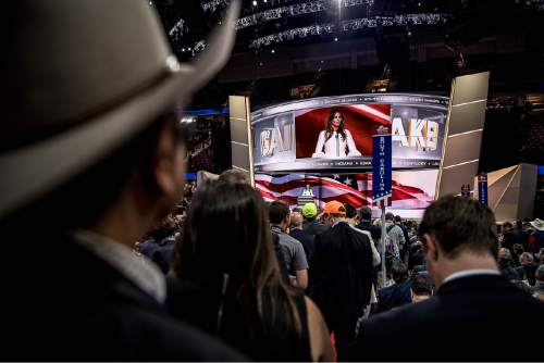 Trent Nelson  |  The Salt Lake Tribune Melania Trump speaks at the 2016 Republican National Convention in Cleveland, OH, Monday July 18, 2016.