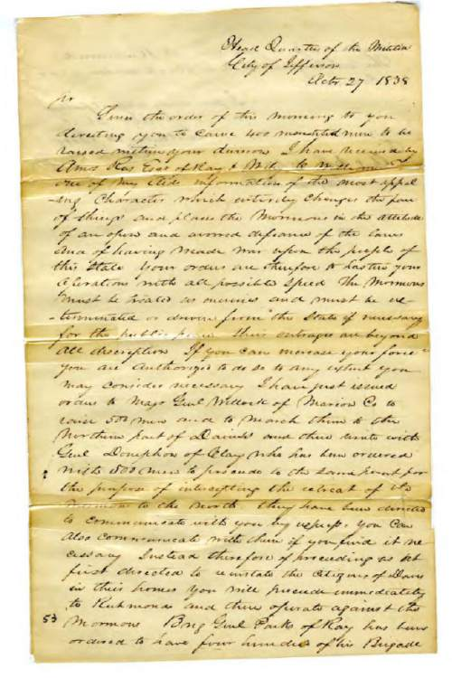 """Courtesy photo  A copy of the Mormon """"extermination order"""" issued by Missouri Governor Lilburn W. Boggs in 1838."""