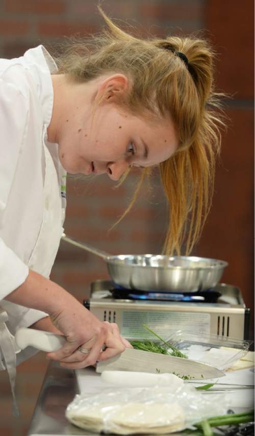 """Steve Griffin / The Salt Lake Tribune  Kourtney Stevens audition for """"TeenChef Pro,"""" a cooking show produced by the Utah Restaurant Associaiton and filmed at Salt Lake Community College's South Campus"""