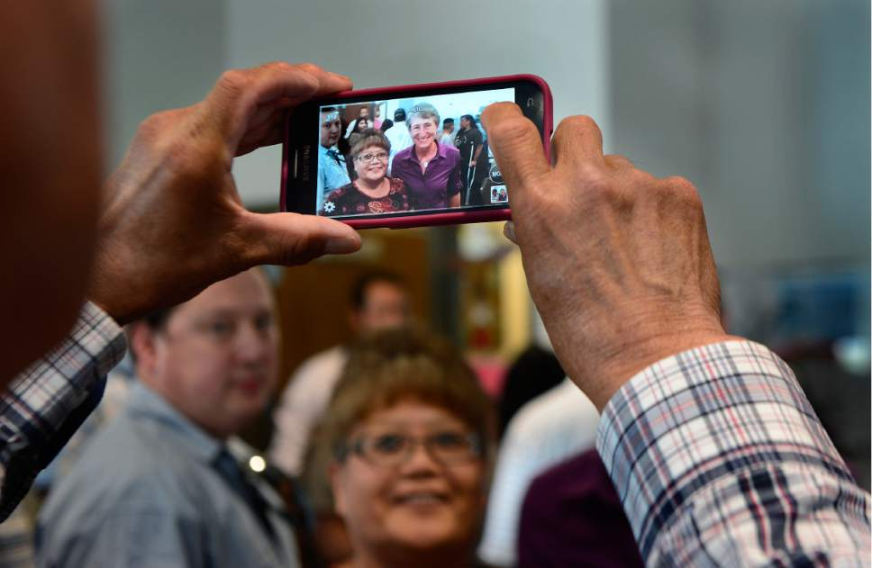 Scott Sommerdorf   |  The Salt Lake Tribune   Local Native Dineh people gather around Interior Secretary Sally Jewell after she attended a public meeting with the San Juan County Commissioners in Monticello, Thursday, July 14, 2016.