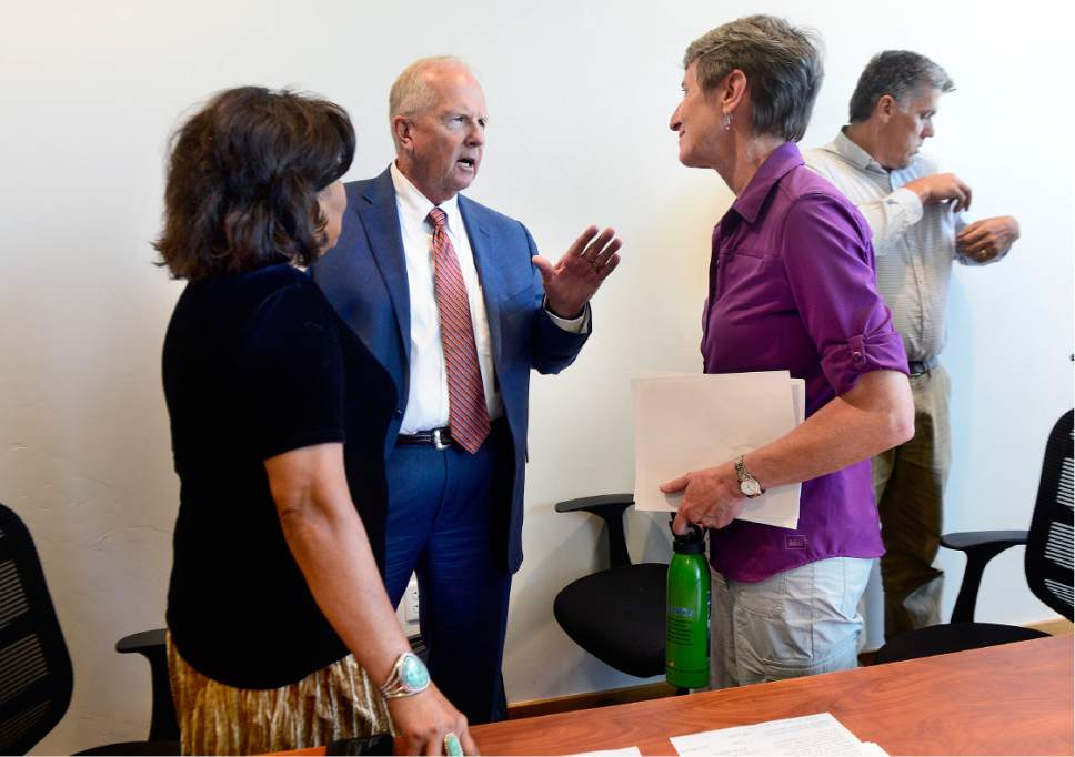 Scott Sommerdorf   |  The Salt Lake Tribune   Utah state Representative Mike Noel, R-Kanab, speaks with Interior Secretary Sally Jewell after she attended a public meeting with the San Juan County Commissioners in Monticello, Thursday, July 14, 2016. Commissioner Rebecca M. Benally is at left.