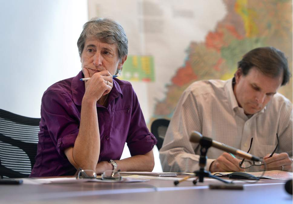 Scott Sommerdorf   |  The Salt Lake Tribune   Interior Secretary Sally Jewell listens at a meeting with the San Juan County Commissioners in a public meeting in Monticello, Thursday, July 14, 2016. To the right is Undersecretary of Natural Resources and Environment and USDA, Robert Bonnie.