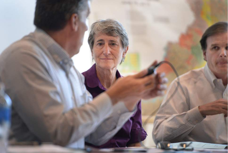 Scott Sommerdorf   |  The Salt Lake Tribune   Interior Secretary Sally Jewell listens to San Juan County Commissioner Phil Lyman, left, at a meeting with the San Juan County Commissioners in a meeting in Monticello, Thursday, July 14, 2016. To the right is Undersecretary of Natural Resources and Environment and USDA, Robert Bonnie.