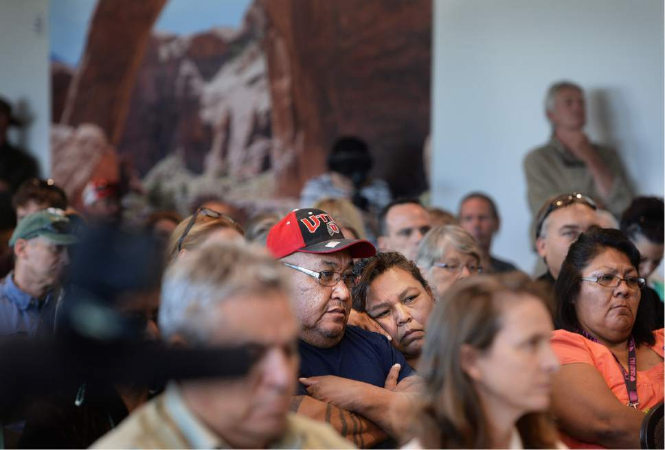 Scott Sommerdorf   |  The Salt Lake Tribune   Some of the native and local people who attended the meeting where Interior Secretary Sally Jewell met with the San Juan County Commissioners in Monticello, Thursday, July 14, 2016.