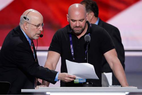 Dana White, President of Ultimate Fighting Championship, looks over notes during a sound check before the second day of the Republican National Convention in Cleveland, Tuesday, July 19, 2016. (AP Photo/J. Scott Applewhite)