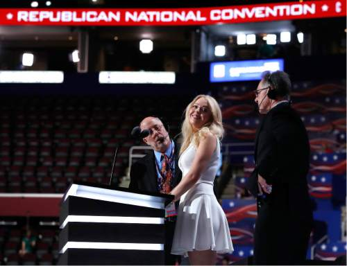Tiffany Trump, daughter of Republican presidential candidate Donald Trump, prepares for her speech at the Republican National Convention in Cleveland, Tuesday, July 19, 2016. (AP Photo/Carolyn Kaster)