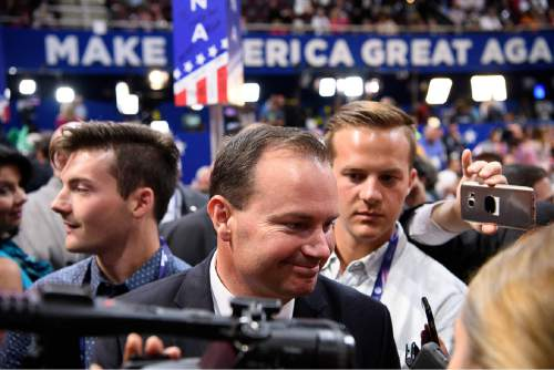 Trent Nelson  |  The Salt Lake Tribune Sen. Mike Lee is interviewed after the Utah delegation voted for Senator Ted Cruz in the roll call of the states to pick the Republican nominee at the 2016 Republican National Convention in Cleveland, Tuesday July 19, 2016. Because of party rules the votes were recorded in Donald Trump's column.