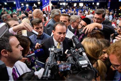 Trent Nelson  |  The Salt Lake Tribune Sen. Mike Lee is interviewed after the Utah delegation voted for Sen. Ted Cruz in the roll call of the states to pick the Republican nominee at the 2016 Republican National Convention in Cleveland, Tuesday July 19, 2016.
