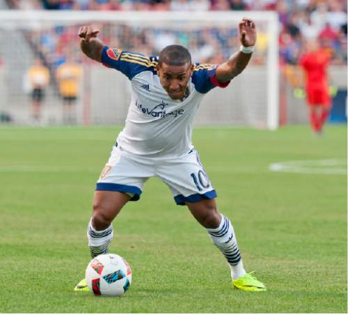 Michael Mangum  |  Special to the Tribune  Real Salt Lake forward Joao Plata (10) possesses the ball during their international friendly against Inter Milan at Rio Tinto Stadium in Sandy, Utah on Tuesday, July 19th, 2016.