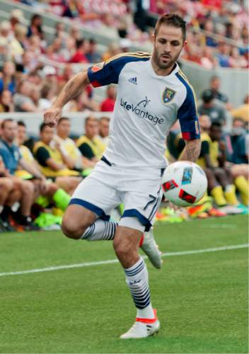 Michael Mangum  |  Special to the Tribune  Real Salt Lake forward Yura Movsisyan (14) settles the ball near the corner during their international friendly against Inter Milan at Rio Tinto Stadium in Sandy, Utah on Tuesday, July 19th, 2016.