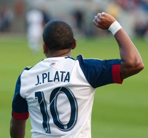 Michael Mangum  |  Special to the Tribune  Real Salt Lake forward Joao Plata (10) celebrates his assist in the first half of their international friendly against Inter Milan at Rio Tinto Stadium in Sandy, Utah on Tuesday, July 19th, 2016.