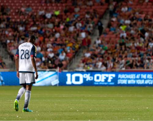 Michael Mangum  |  Special to the Tribune  Real Salt Lake defender Chris Schuler (28) walks toward the half line during their international friendly against Inter Milan at Rio Tinto Stadium in Sandy, Utah on Tuesday, July 19th, 2016. Inter won on a last second goal 2-1.