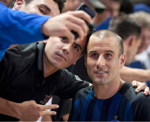 Michael Mangum  |  Special to the Tribune  Inter Milan forward Rodrigo Palacio (8) poses for a photo with fans following their international friendly against Real Salt Lake at Rio Tinto Stadium in Sandy, Utah on Tuesday, July 19th, 2016. Inter won on a last second goal 2-1.