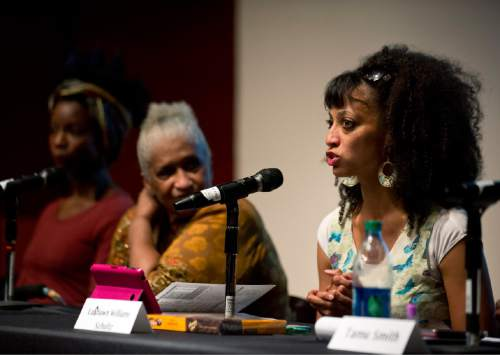 "Lennie Mahler  |  The Salt Lake Tribune  LaShawn Williams-Schultz speaks in a panel discussion, ""Race and Mormon Women,"" at the Utah Museum of Fine Arts, Friday, Oct. 9, 2015."