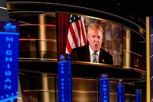 Trent Nelson     Tribune file photo Donald Trump speaks via a video from Trump Tower at the 2016 Republican National Convention in Cleveland, OH, Tuesday July 19, 2016.