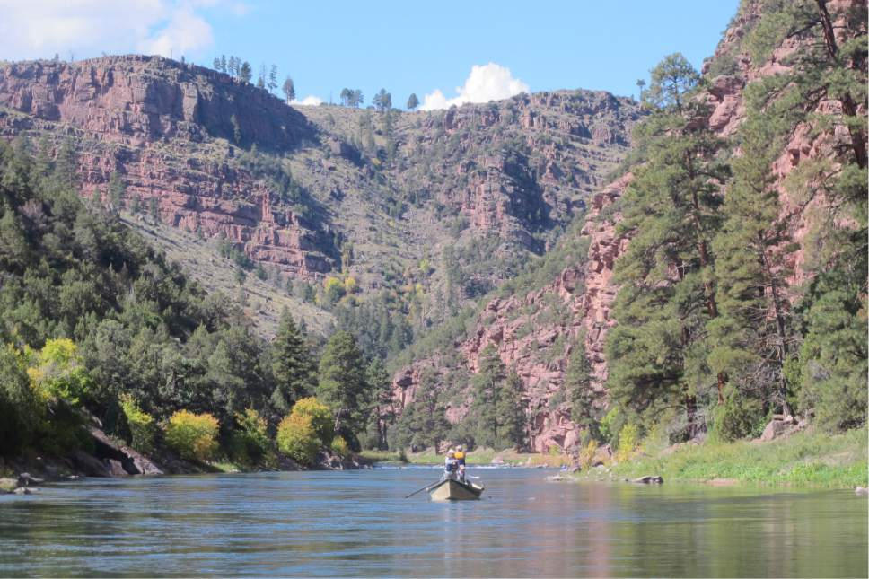 |  Tribune File Photo  A drift boat floats the upper section of the Green River below Flaming Gorge Reservoir in Daggett County. The county has proposed the river be designated as scenic under the Wild and Scenic Rivers Act as part of Rep. Rob Bishopís Public Lands Initiative.