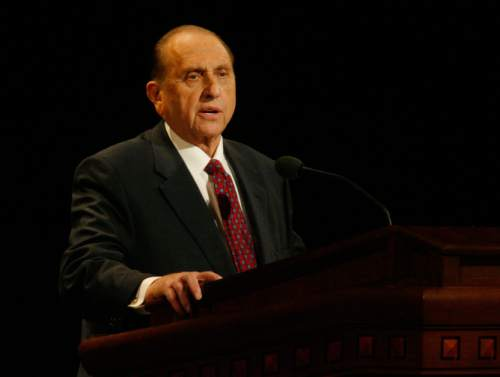 Thomas S. Monson speaks at the General Relief Society Meeting at the LDS Conference Center Saturday Evening.    Rick Egan/Salt Lake Tribune  9/29/2007