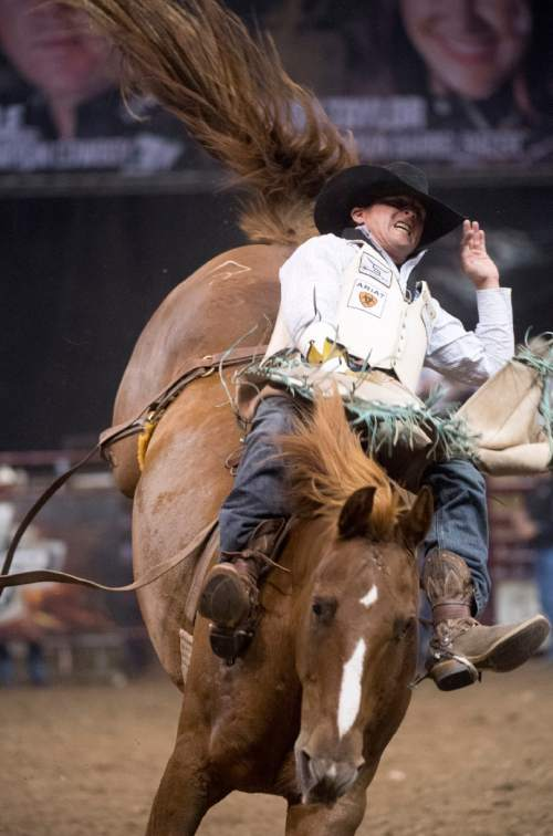 Rick Egan  |  The Salt Lake Tribune  Ryan Gray, Cheney, WA, rides in the Bare Back competition, in the Days of 47 Rodeo, at Vivint Smart Home Arena, Saturday, July 23, 2016.