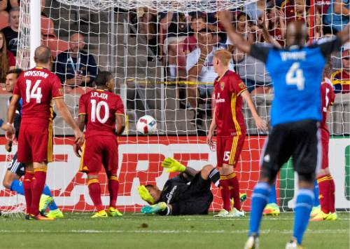 Michael Mangum     Special to the Tribune  The ball flies into Real Salt Lake goalkeeper Nick Rimando's net following a San Jose Earthquakes corner kick during their MLS match at Rio Tinto Stadium in Sandy, Utah on Friday, July 22nd, 2016.