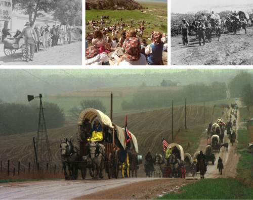 Tribune File Photos  Bottom: A wagon train makes its way through the countryside during a pioneer reenactment in 1997. Top, leftt: A parade of handcarts is seen in this 1887 photo. Top, middle: A crowd gathers at Martin's Cove in this photo from 2001. Top, right: This photograph is most likely from a pioneer reenactment in 1912 that ended with a parade of wagons at Liberty Park.