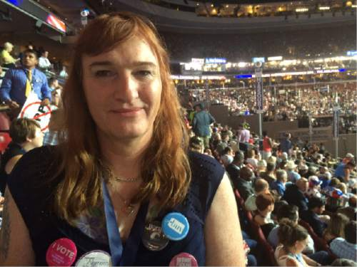 Thomas Burr  |  The Salt Lake Tribune  Sophia Hawes-Tingey, a Utah delegate to the Democratic National Convention, says it's important that transgender people be represented at the gathering. Hawes-Tingey is one of 28 transgender delegates in Philadelphia.