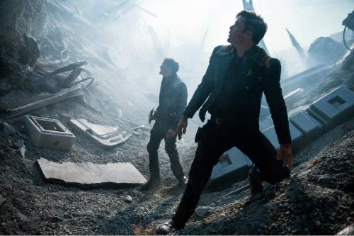 """In this image released by Paramount Pictures, Anton Yelchin, left, and Chris Pine appear in a scene from, """"Star Trek Beyond."""" (Kimberley French/Paramount Pictures via AP)"""