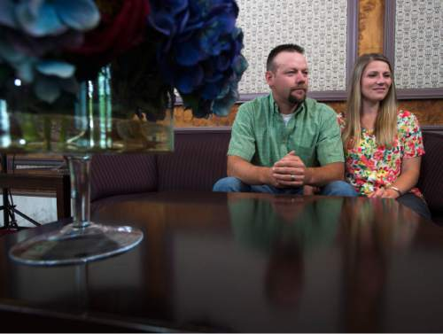 """Steve Griffin / The Salt Lake Tribune Jeff and Emily Wadman talk about the new movie """"Meet the Mormons: New Faces/New Stories"""" at the Joseph Smith Memorial Building in Salt Lake City on Thursday, July 14, 2016. The Wadmans, who live in Morgan, Utah, are featured in the movie."""