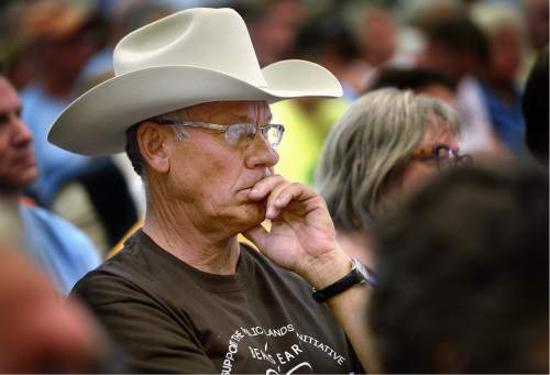 Scott Sommerdorf   |  The Salt Lake Tribune   San Juan County Commissioner Bruce Adams listens to testimony about the Bears Ears National Park idea in the meeting at the Bluff Community Center, Saturday, July 15, 2016. Secretary of the Interior Sally Jewell was also in attendance.