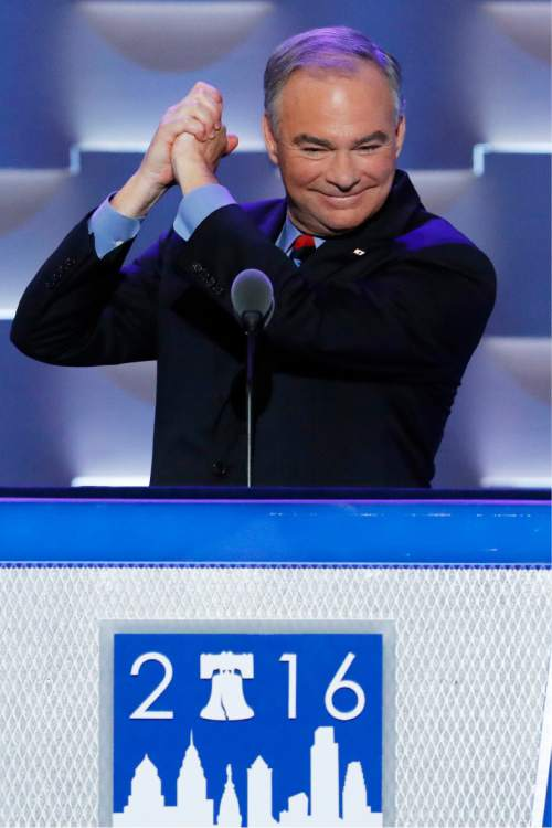 Democratic vice presidential candidate, Sen. Tim Kaine, D-Va., reacts to the cheers as he steps to the podium during the third day of the Democratic National Convention in Philadelphia , Wednesday, July 27, 2016. (AP Photo/J. Scott Applewhite)