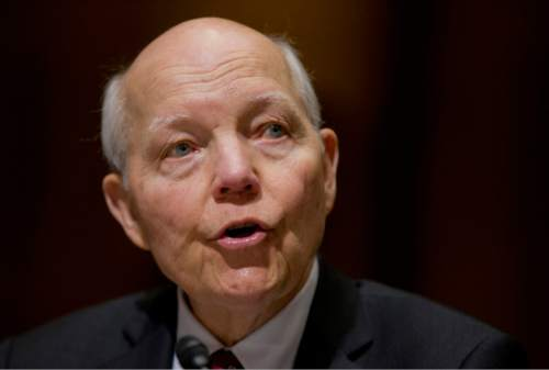 In this photo taken Feb. 10, 2016, Internal Revenue Service (IRS) Commissioner John Koskinen testifies on Capitol Hill in Washington. The chairman of the House Oversight and Government Reform Committee has introduced a resolution to censure Koskinen. Rep. Jason Chaffetz, R-Utah says the resolution seeks Koskinen's resignation or removal, as well as the forfeiture of his pension.  (AP Photo/Manuel Balce Ceneta)