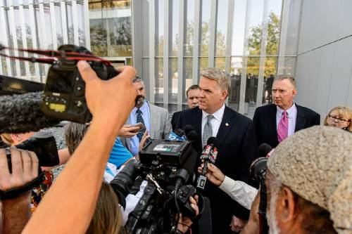Trent Nelson  |  The Salt Lake Tribune U.S. Attorney for Utah John Huber speaks outside the federal courthouse in Salt Lake City after a federal judge sentenced online entrepreneur Jeremy Johnson to 135 months in prison for eight counts of making false statements to a bank. Friday July 29, 2016.