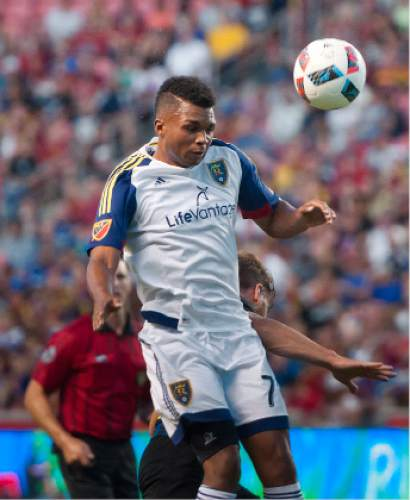 Michael Mangum  |  Special to the Tribune  Real Salt Lake midfielder Jordan Allen (70) flies up for a header during their international friendly against Inter Milan at Rio Tinto Stadium in Sandy, Utah on Tuesday, July 19th, 2016.