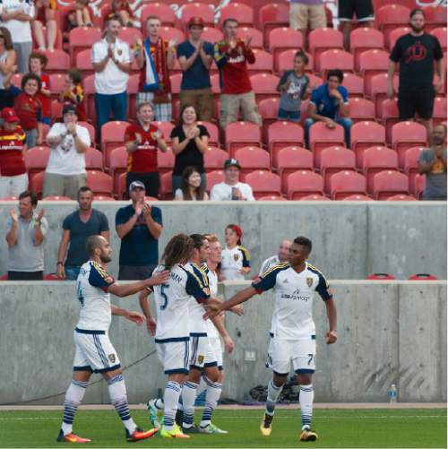 Michael Mangum  |  Special to the Tribune  Real Salt Lake midfielder Jordan Allen (70), right, and his team celebrate Allen's first half goal during their international friendly against Inter Milan at Rio Tinto Stadium in Sandy, Utah on Tuesday, July 19th, 2016.