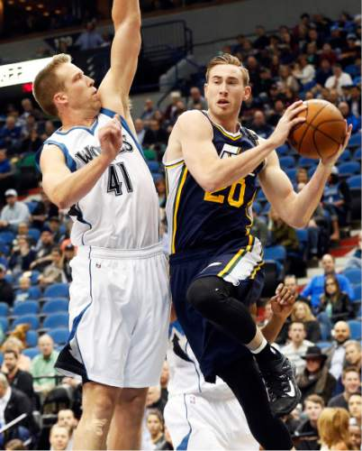 bff142da564 Utah Jazz's Gordon Hayward, right, goes to the air before looking to pass as