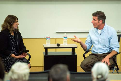 Chris Detrick     Tribune File Photo Dan Diaz, widower of Brittany Maynard, speaks to Jennifer Napier-Pearce, Hinckley Institute of Politics,  about expanding the availability of end-of-life options for terminally ill, at the Eccles Health Sciences Education Building Tuesday June 14, 2016.  Napier-Pearce has been named Editor of The Salt Lake Tribune by new owner Paul Huntsman, replacing Terry Orme.