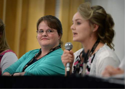 Scott Sommerdorf   |  The Salt Lake Tribune   Edith Barlow, left, listens as Hanna Blackmore speaks about her life in a polygamous family.  -- Several members of the a fundamentalist community in Bountiful, Canada, discussed their experiences with plural marriage and what it means to them as a part of the Sunstone Symposium, Thursday, July 28, 2016.